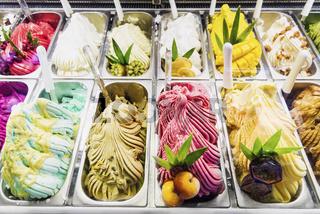 italian gelato gelatto ice cream display in shop