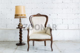 White Retro Chair with Lamp