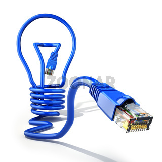 Start up internet business idea concept. Light bulb and lan cable.