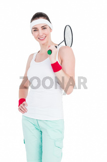 Female athlete playing badminton
