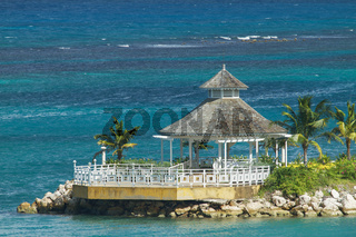 Beautiful Lonely Gazebo Surrounded by the Ocean