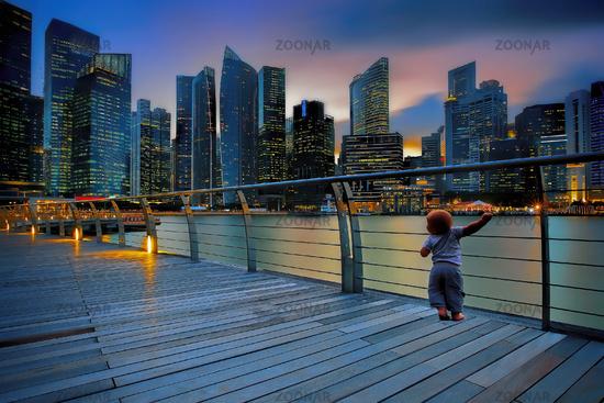 Little boy in a big city
