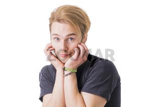 Shy blond man