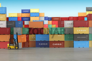 Delivery or warehouse  background concept. Cargo shipping containers in storage area with forklifts.