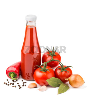 Bottle of ketchup and raw ingredients isolated on white