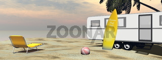 Caravan holidays at the beach - 3D render