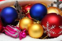 Christmas balls, toys in bag