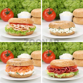 Gesunde Ernährung Collage von Bagels zum Frühstück mit Schinken, Lachs und Frischkäse