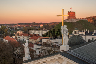 Vilnius, Lithuania: Sculptures on Roof of Cathedral and Upper Castle