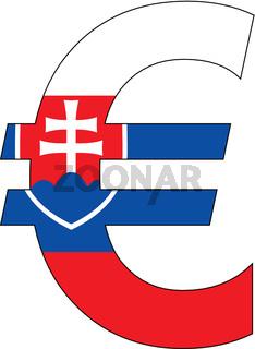 euro with flag of slovakia