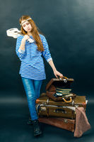 young girl is travel-ling