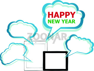 Vector illustration of a tablet pc icon with Happy New Year words