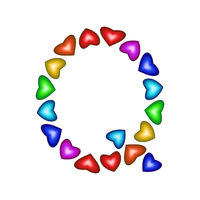 Letter Q made of multicolored hearts on white background