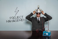 Project management text with vintage businessman