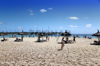 MAURITIUS - APRIL 24:tourists have a rest on the sandy beach of the island of Gabrielle on April 24