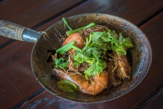 Baked shrimps with glass noodles, authentic Thai cuisine