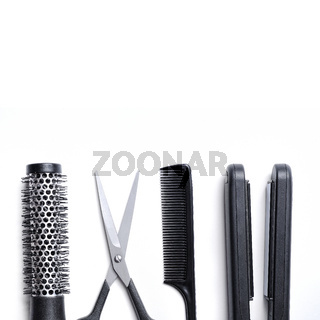 Hairdressing accessories set isolated down