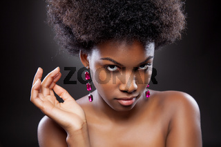 Black beauty with perfect skin and curly hair