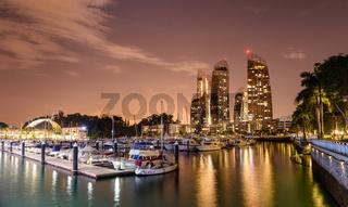 Keppel Bay marina at night in Singapore