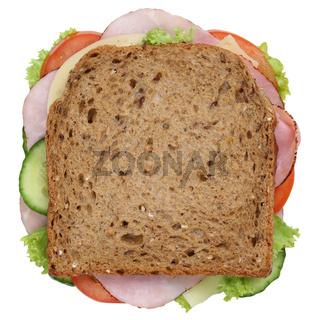Sandwich Toast zum Frühstück belegt mit Schinken von oben Freisteller