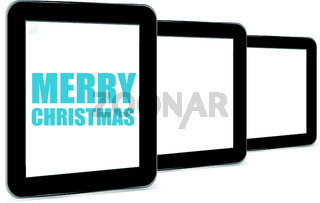 Vector illustration of a tablet pc icon with merry christmas words