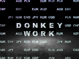 Business concept: Donkey Work in grunge dark room