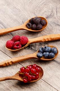 Berries in spoons
