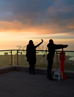 View point at sunset