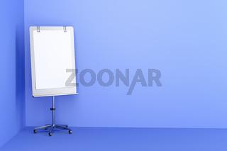 Flip chart in blue room