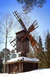 Old wooden mill in the open-air museum Seurasaari island