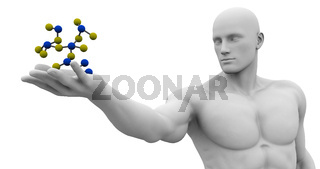 Man Observing Molecule Structure