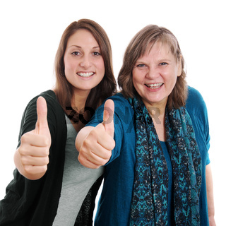 daughter and mother thumbs up