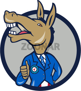 Democrat Donkey Mascot Thumbs Up Circle Cartoon