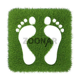 Traces of human feet on grass