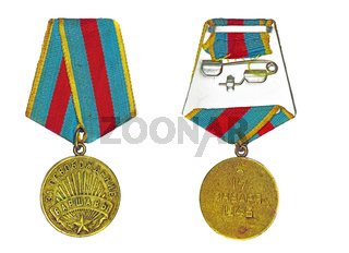 Medal 'For the Liberation of Warsaw' (with the reverse side) on a white background