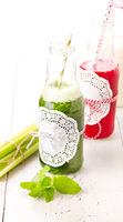Healthy green and red smoothie drink