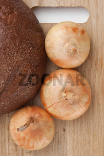rye bread and onions