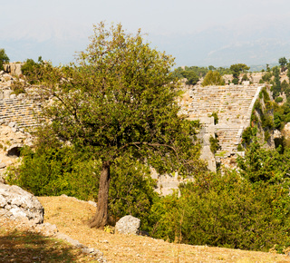 ruins     from the hill in asia turkey selge old architecture and nature
