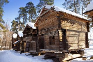 Rustic wooden house in the open-air museum Seurasaari island