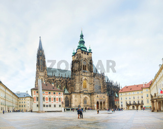 St. Vitus Cathedral surrounded by tourists in Prague