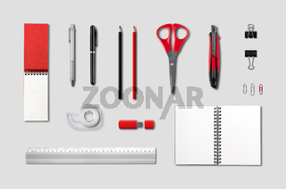 Stationery, office supplies mockup template, grey background