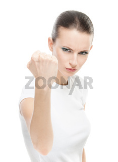 Beautiful woman with a fist shakes