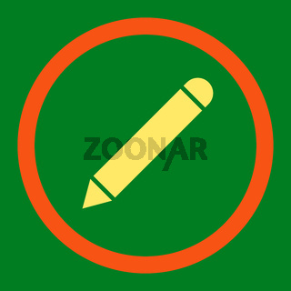 Pencil flat orange and yellow colors rounded raster icon