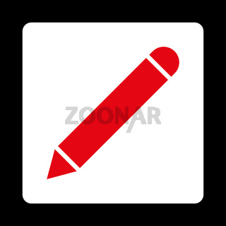 Pencil flat red and white colors rounded button