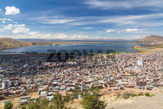 Aerial Panorama of Puno and Lake Titicaca from Mirador El Condor