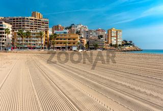 Empty beach of Finestrat in Benidorm. Alicante, Spain