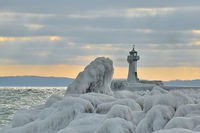 Leuchtturm im Eismantel