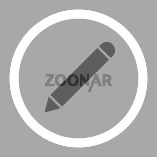 Pencil flat dark gray and white colors rounded vector icon