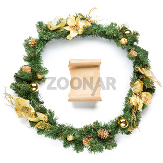 Christmas garland with parchment Isolated on white