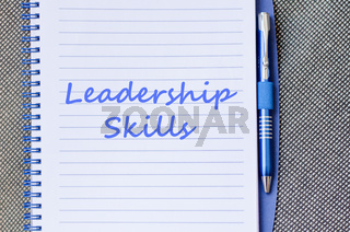 Leadership skills write on notebook